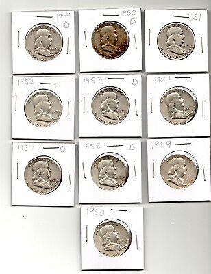Franklin Silver Half Dollars 1949 to 1960, 90% Silver  - Lot of 10