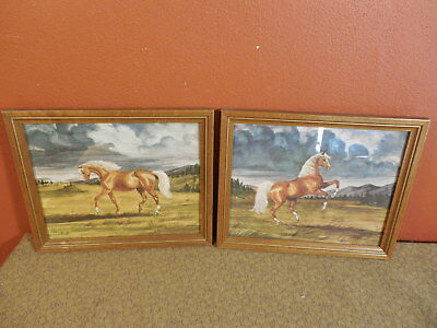Vintage Pair of Jeanne Mellin Horse Prints 1949 Framed Pictures
