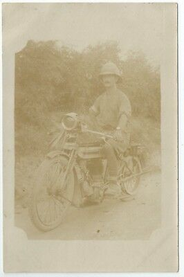 Real photo postcard of an early military motorcycle very good condition
