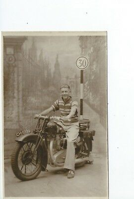 Real photo postcard of a Motorcycle Reg CH1939  in very good condition