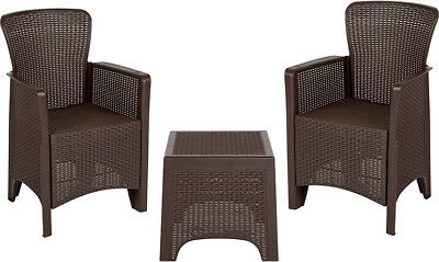 Flash Furniture Plastic Table Chair Set In Chocolate DAD-SF3-2P-SET-CHOC-GG