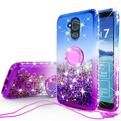 Alcatel 7 / REVVL 2 Plus Liquid Glitter Bling Bumper Ring Kickstand Phone Case