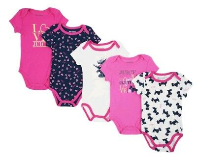 Juicy Couture Infant Girls Size 6-9 Month Bodysuits 5pk Pink, Navy Blue, & White