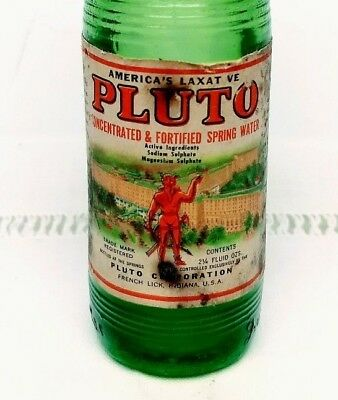 Vintage Pluto Spring Water bottle; French Lick Springs DEVIL, Indiana; Unopened