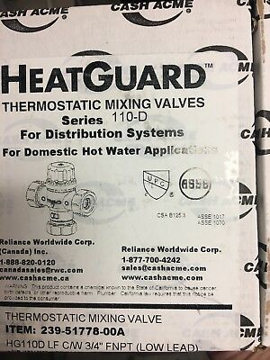 Heatguard Cash Acme Thermostatic Mixing Valve Series 110-D