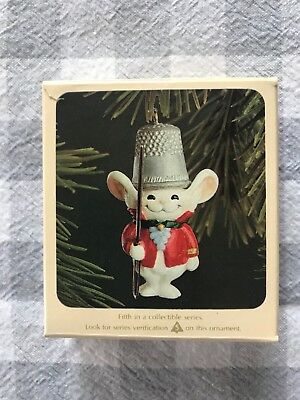 Vintage Hallmark Ornament 1982 ~Thimble Mouse~ ORIGINAL BOX!
