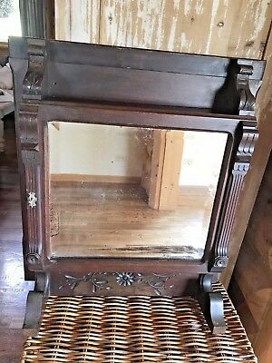 Antique Victorian Oak Medicine Cabinet /Shelf Wall Mount Glass Mirror