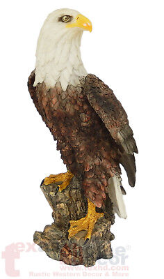 Large American Bald Eagle Figurine Statue on Tree Stump Home Office Decor 16""