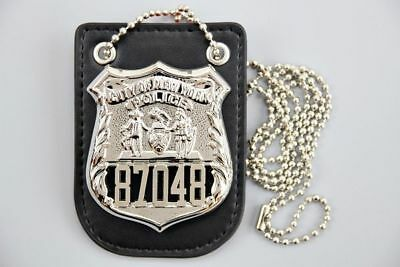 "US Police Badge NYPD Officer #87048 ""NYC 22"" Jennifer w/z badge holder"