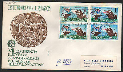 PG-A058 SPAIN - Europa Cept, Fdc Cover, 1966 Madrid Block Of 4