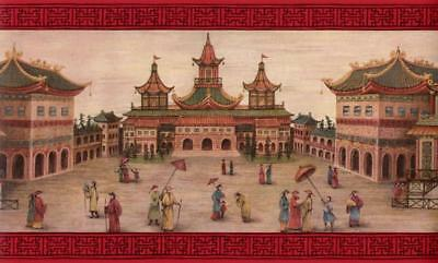 Chinese Emperor's Palace & Red Classic Chinese Oriental Pattern Wallpaper Border