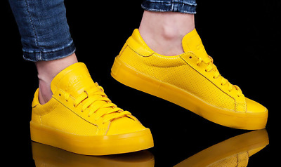 in stock 55a4a 30a41 Adidas Court Vantage Adicolor YellowYellow S80254 Mens Size 9.5