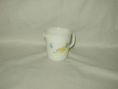 """PYREX vintage 3.75"""" butterfly blue yellow flowers CREAMER"""