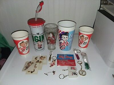 Vintage Bobs Big Boy Elias Brothers Mixed Lot Glasses, Stickers, Key Chains etc.