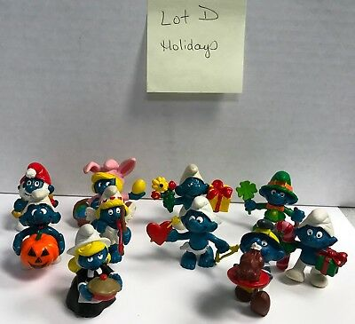 "Lot of 10 Vintage Schleich Peyo 2"" PVC Smurf Figures - Holidays - Lot D"