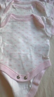 3 x pink heart pattern Mother care baby vests, early baby