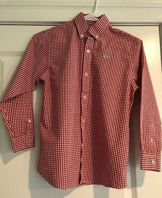 Vineyard Vines Red Classic Gingham Button Down Whale Shirt Boy's Size Small