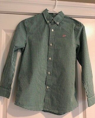 Vineyard Vines Green Classic Gingham Button Down Whale Shirt Boy's Size Small