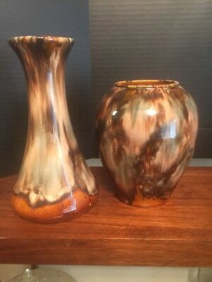 Vintage LOT of 2 Brush McCoy Brown Onyx W/ Blue Clouds Art Pottery VASES Ex
