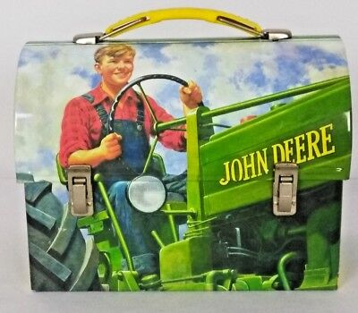 John Deere Small Tin Lunch Box Young Man Driving A Tractor Barn Shaped