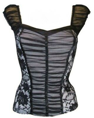 Ladies Womens Grey Black Lace Corset Basque With Tutu 2XL Approx UK 16