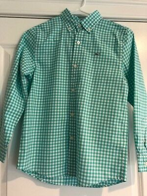 Vineyard Vines Teal Classic Gingham Button Down Whale Shirt Boy's Size Small