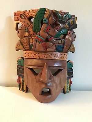 Corn God Maiz Mayan Warrior Wood Sun Moon Life Death Aztec Mask Hand Carved