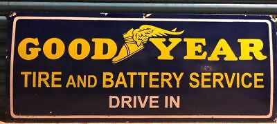 Large Good Year Tire And Battery Service Porcelain Enamel Sign