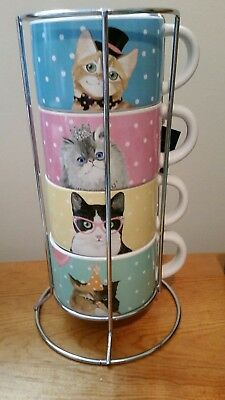 Pier 1 Imports Party Cats Stacking Mug Set Of 4 With Stand *nwt*