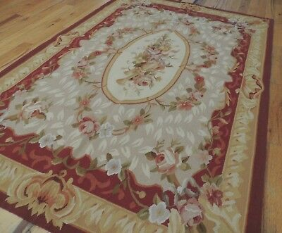 3x5 French Aubusson style Design Area Rug Gold RED Gray