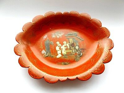 Beautiful Antique Vintage Chinese Red Hand Painted Papier Mache Lacquered Dish.
