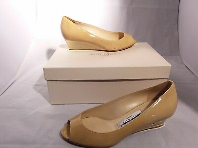 e7d38d1eb5 Jimmy Choo Women's Natural Nude Patent Leather Bergen Peep Toe Wedges 36.5
