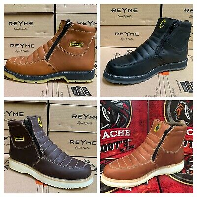 Men's Work Boots Leather Zip Up Safety Soft Toe Oil Resistant Super Light Weight