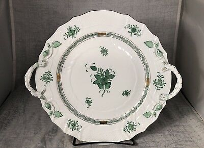 """Herend Green Chinese Bouquet Chop Cake Plate w/ Handles 13"""" Gold Accents"""