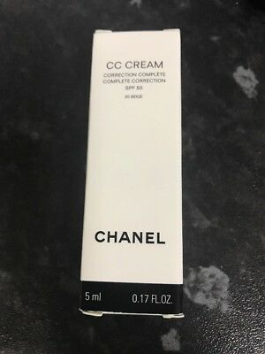 Chanel  CC Cream Complete Correction SPF50 #20 Beige 5ml ** New
