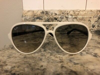 787f47ef87 Authentic Ray Ban RB 4125 CATS 5000 722 32 2N WHITE Sunglasses Excellent!