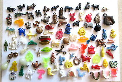 Lot 93 Vintage Gumball Vending Plastic & Metal Charms Animals