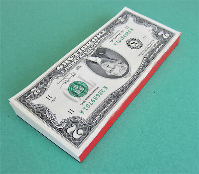 50 Two Dollar Bills in a PAD, $2 Notes from BEP Pack, Bound like BOOKLET, FV 100