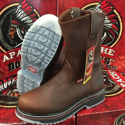 Men's Work Boots Genuine Leather Brown Color Western Cowboy Pull On Boots