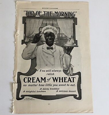 Antique 1906 Cream of Wheat Black Americana Print Ad Standard Sanitary Bathroom