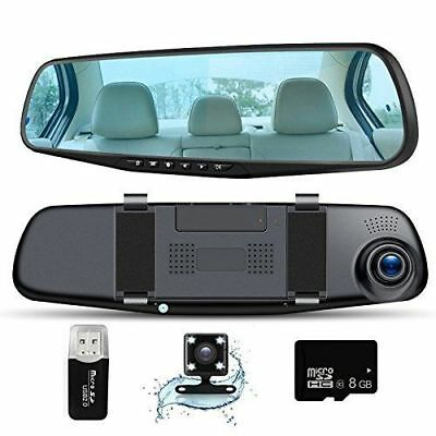 Car Camera Dash Cam Full Hd 1080P, Rear View Mirror Dual Lens Camera,Car Video D