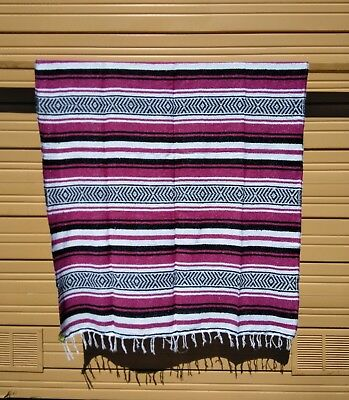 "MEXICAN FALSA BLANKET ,THROW ,SARAPE , BLANKET, YOGA , 72"" x 52"" , PINK"