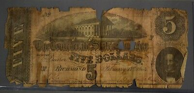 1864 Confederate States of America $5 Civil War Currency Note POOR CONDITION