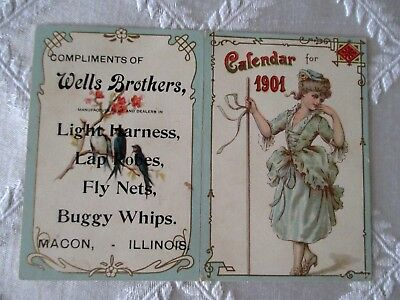 1901-Wells Brothers-Hardware Store Fold Out Color Calendar-Macon,illinois