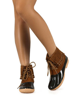 c9decef5a70d New Women Nature Breeze Duck-03 Mix Media Studded Fringe Lace Up Duck Boot  Size