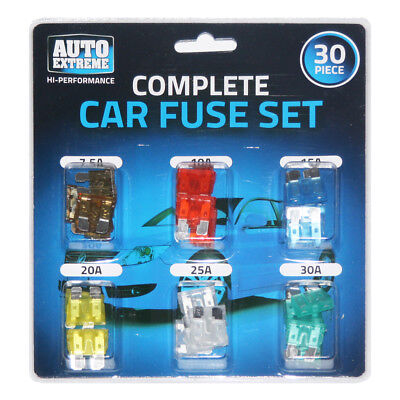 30 Pcs Large Assorted Standard Blade Car Fuses 7.5A 10A 15A 20A 25A 30A Van Set