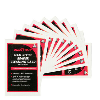 Pkg of 10 Suzo-Happ Magnetic Stripe Reader Cleaning Cards