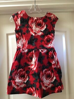 Gap Girls Size 8 Years Red & Black Floral 100% Cotton Party Dress EUC