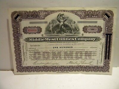 1936 Middle West Utilities Company Stock Certificate: Delaware