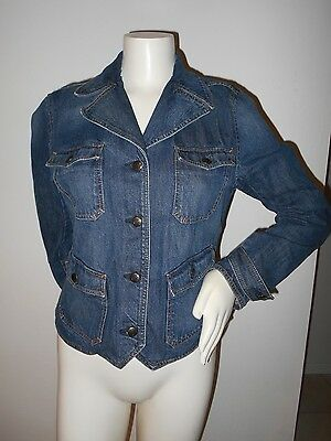 36eb64fe3cc Super Cute Blue Denim Western Chaps Women s Jean Jacket Coat Size Medium  Med M